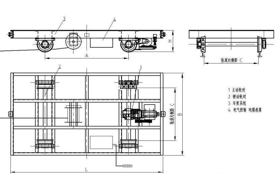 电动平车产品平面图纸